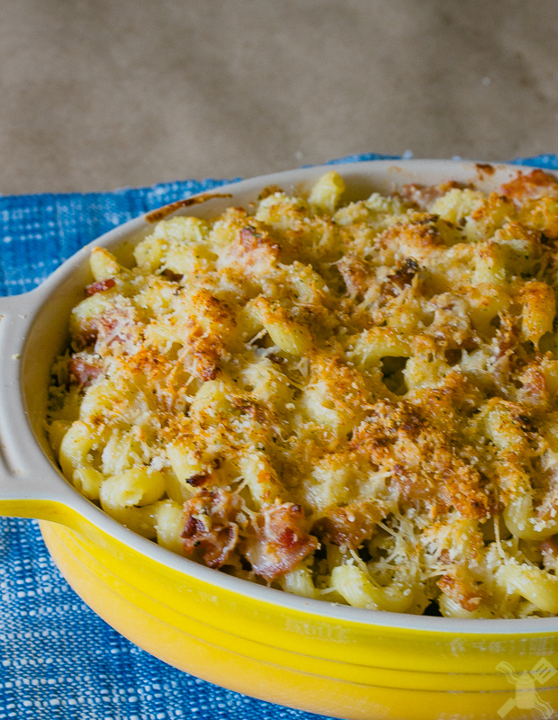 Bacon mac and cheese has the perfect textures and consistency, it feels as if you're eating at a fancy restaurant