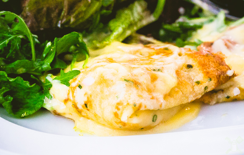 Too many greens, but a great seafood crepe from Marlowe's.