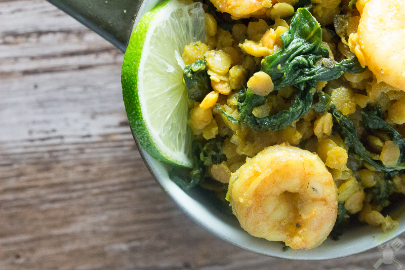 Spinach and shrimp red lentils