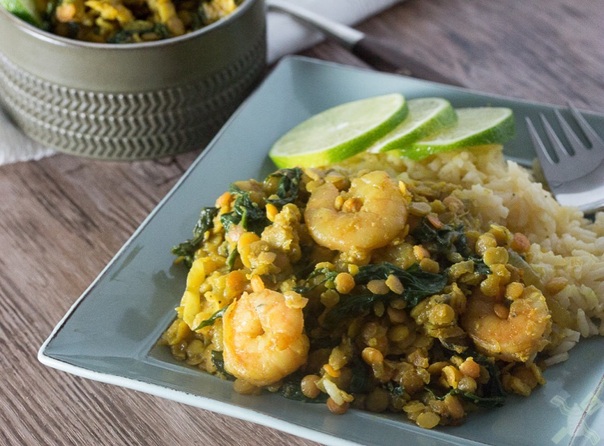 Shrimp and Spinach red lentils
