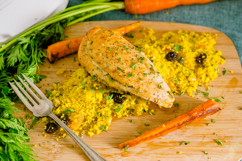 Delicious lemon roasted chicken with Moroccan Couscous