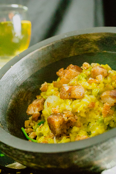 Pork belly and pea risotto