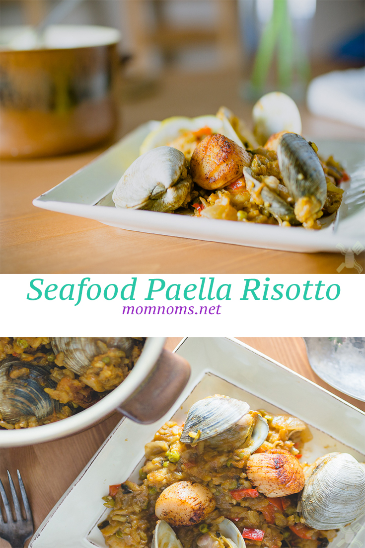 Seafood paella risotto combines the creaminess of a risotto, the brine of the seafood, with the wonderful Spanish flavors of Paella