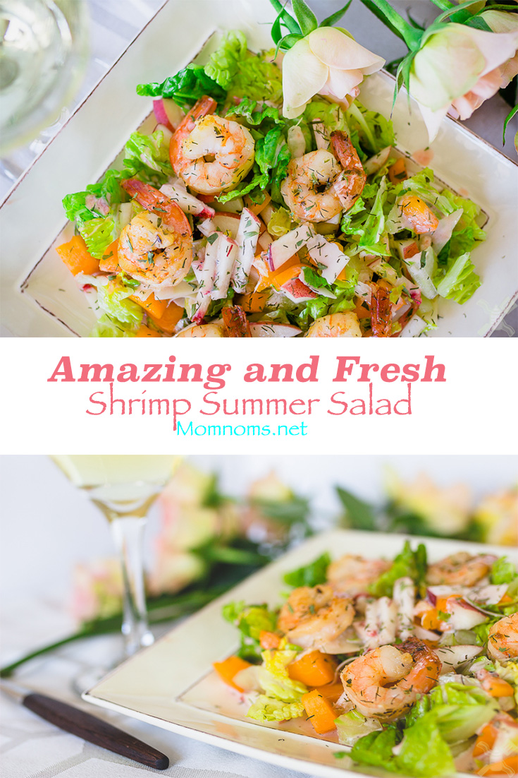 This salad literally takes minutes to make, but you will remember it for the rest of your life.  It combines fresh summer fruits with herbs and juicy shrimp.  You couldn't ask for anything better.