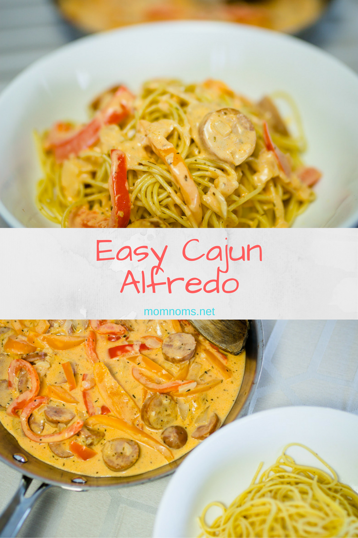 Super easy Cajun Alfredo.  It's good for the whole family and has a little bit of a kick for when you don't want an ordinary weekday meal!