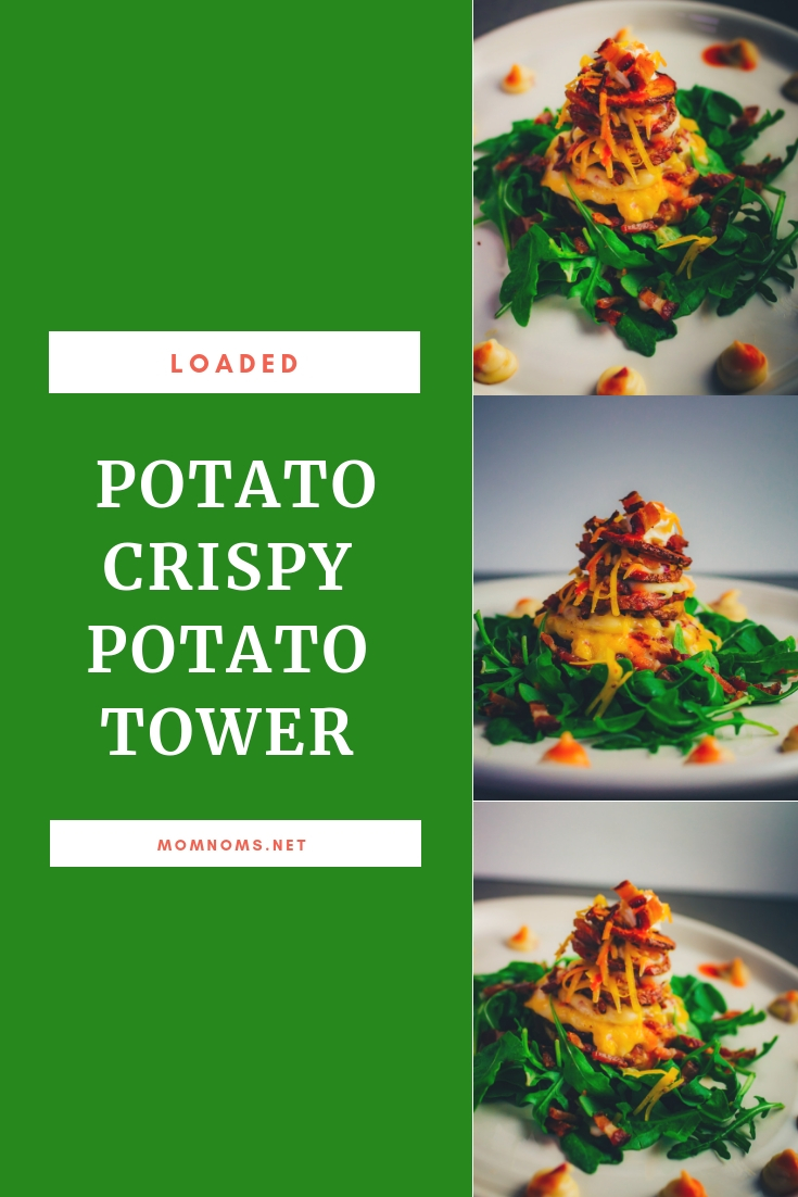 This Potato Tower is one of the most fun and creative recipes that you can serve at your holiday party! Pass it around as appetizers or get your guests to help for a fun group activity!