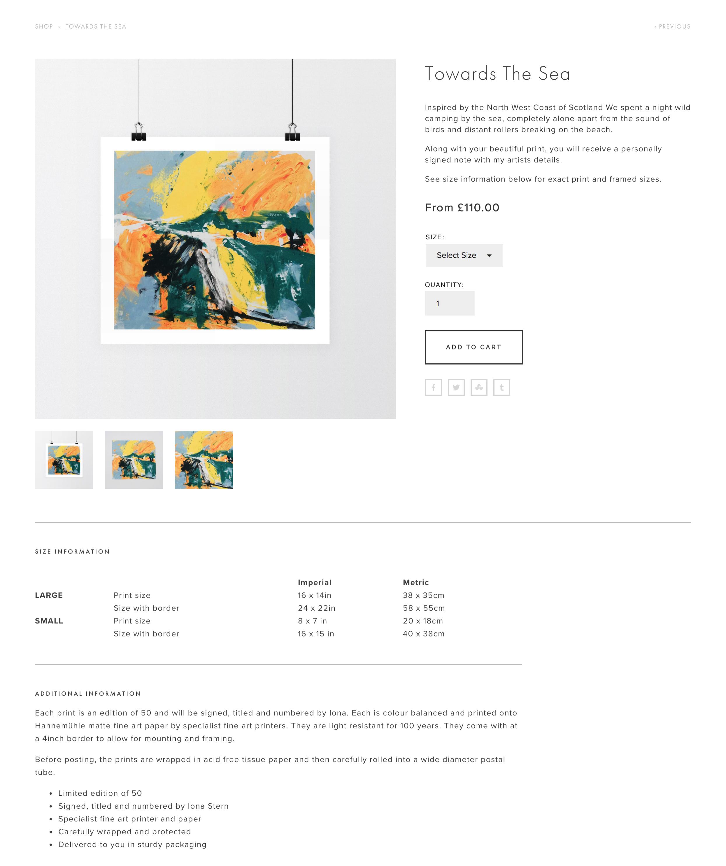 Iona Stern shop - Towards The Sea print