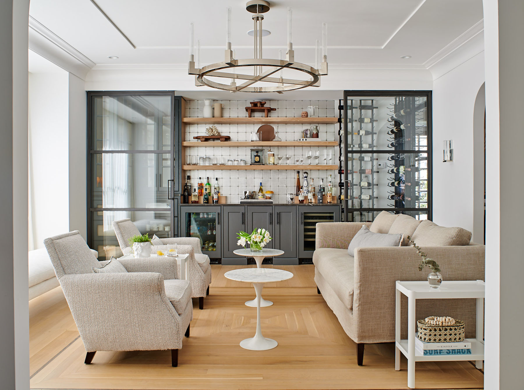Original rendering of this lovely bar room by Ellie Mroz Design had full contrast and balanced exposure.