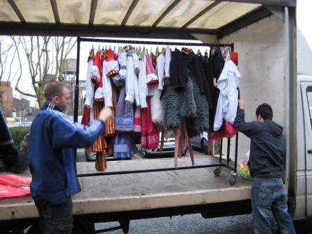 Ian and Phil load the costumes onto the lorry.
