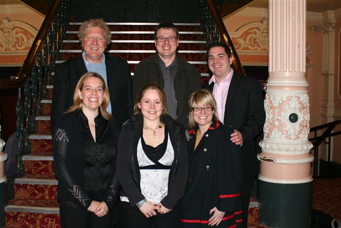 The Imagine team during our visit to the Victoria Theatre, Halifax. Back L-R - Iain Lauchlan (Creatives), Steve Boden (Managing Director) & Iam Plimbley (Stores Manager) .  Front L-R -Sarah Boden (Business Manager), Dawn Outhwaite (Wardrobe) & Louise Redmond (Production Assistant).
