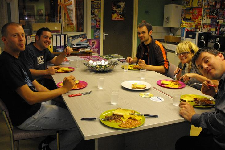 L-R Phil (Stores Assistant), Ian (Stores Manager), Sarah's plate (Business Manager - Sarah, not the plate, obviously!), Chris (Technicals), Louise (Production Assistant) and Steve (Executive Producer).