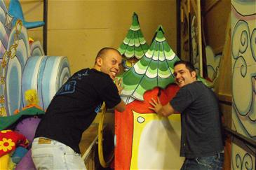 Ian and Phil are in the stores sorting sets (this one is for Aladdin at the Shaw Theatre, London).