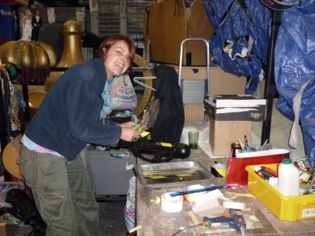 ...while Sophie makes a slosh gun.