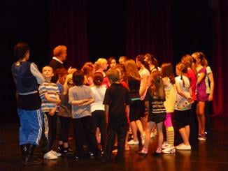 Iain and Jane brief some of the auditionees at Eden Court