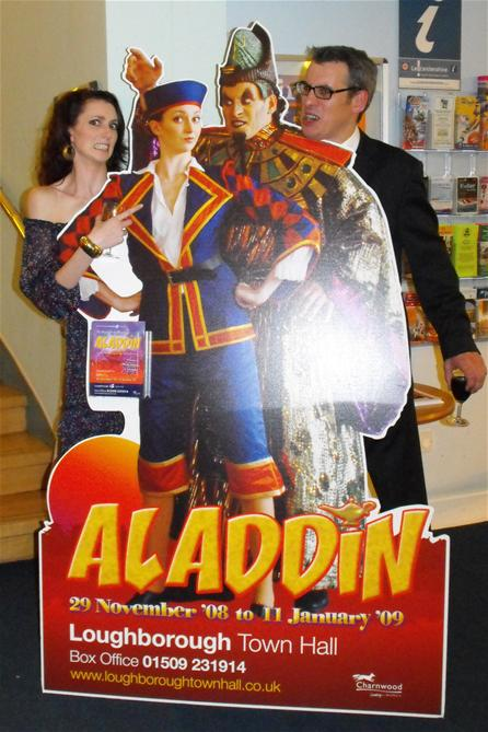 Emily (Aladdin) and Nick (Abanaza) met their alter egos on the standee...