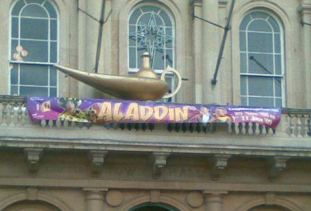 The lamp & banner have gone up outside the Town Hall