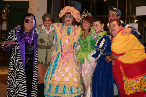 L-R - Frazer Hines (Fleshcreep), Kerry Newell (Jack), Chris Casserly (Dame Trot), Lynne McGranger (Fairy), Carolynne Good (Princess Tamara), Pablo Raybould (The King), Kevin McGreevy (Simple Simon)