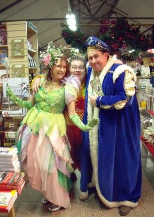Pablo, Lynne and Kevin help out with a christmas event at the Bridgemere Garden Centre