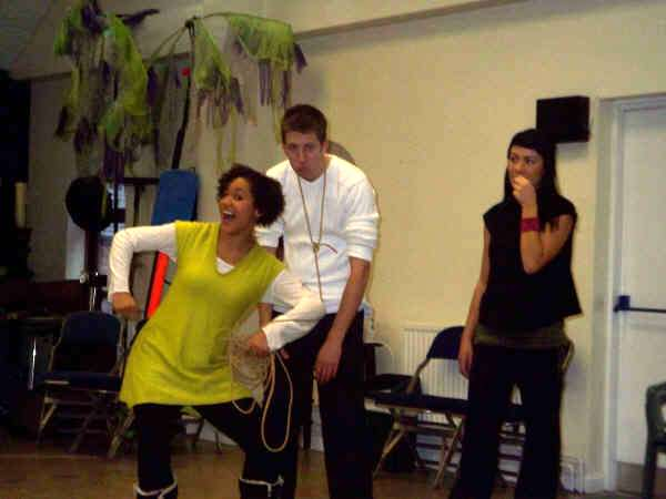 Kerry's getting in the swing of being Jack (with Liam & Nicola playing Daisy the Cow)