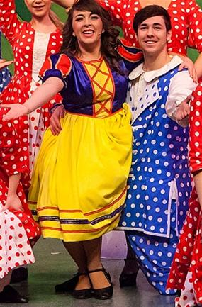 Production photo by Helen Ashbourne. Copyright owned wholly by Imagine Theatre Ltd. Shows Thompson and Hannah Farquharson as Snow White