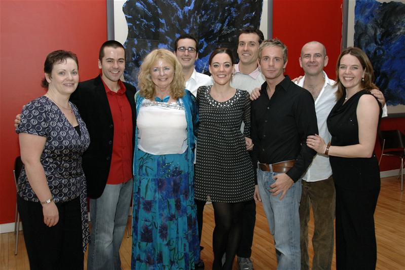 L-R - Janice Blane (venue manager), Gordon Brandie (Pimple), Gwyneth Guthrie (Enchantress), Robbie Jack (Father/ Beast/ Prince), Adele Rankin (Beauty), Graham Vick (Eugene), Liam Dolan (Willy Doo-It), Alan McPherson (Dame Dorothy Doo-It), Sarah Boden (WISH Theatre)