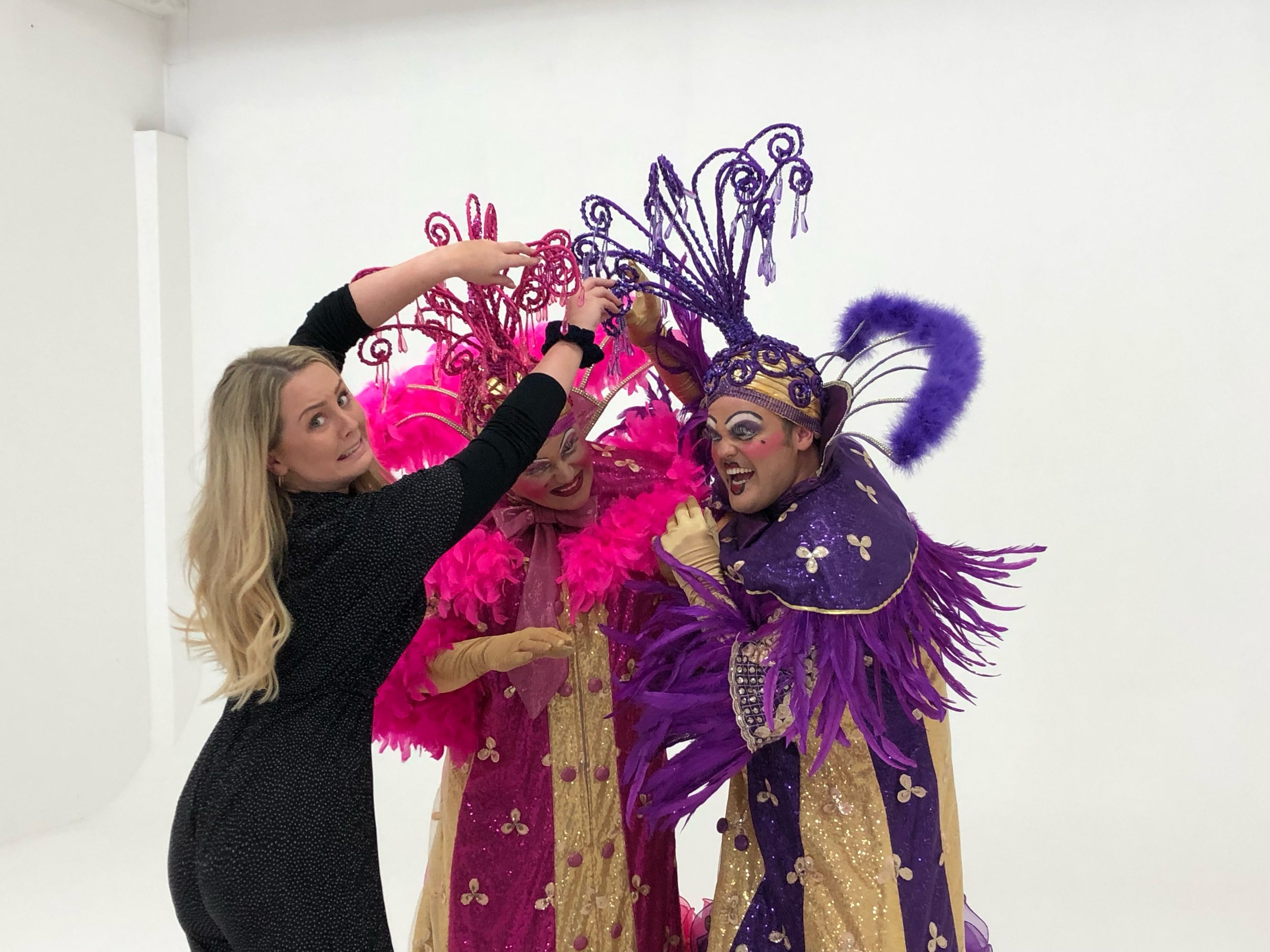 Jason Marc Williams and Alistair Barron play the Ugly sisters - and sometimes things didn't quite go to plan at the photo shoot!!
