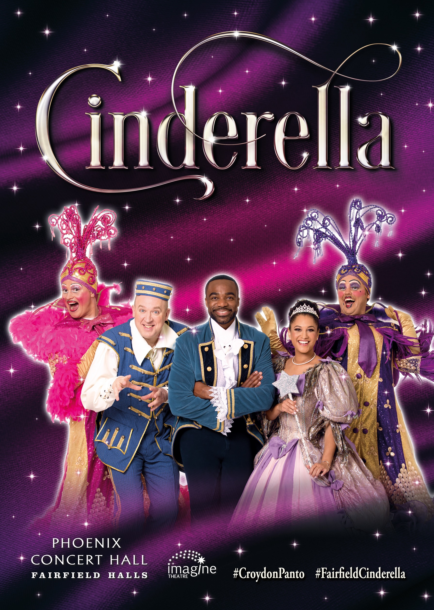 Cinderella stars Ore Oduba as Dandini, Comedian Tim Vine as Buttons, CBeebies Cat Sandion as the Fairy Godmother and Jason Marc-Williams and Alistair Barron as the Ugly Sisters