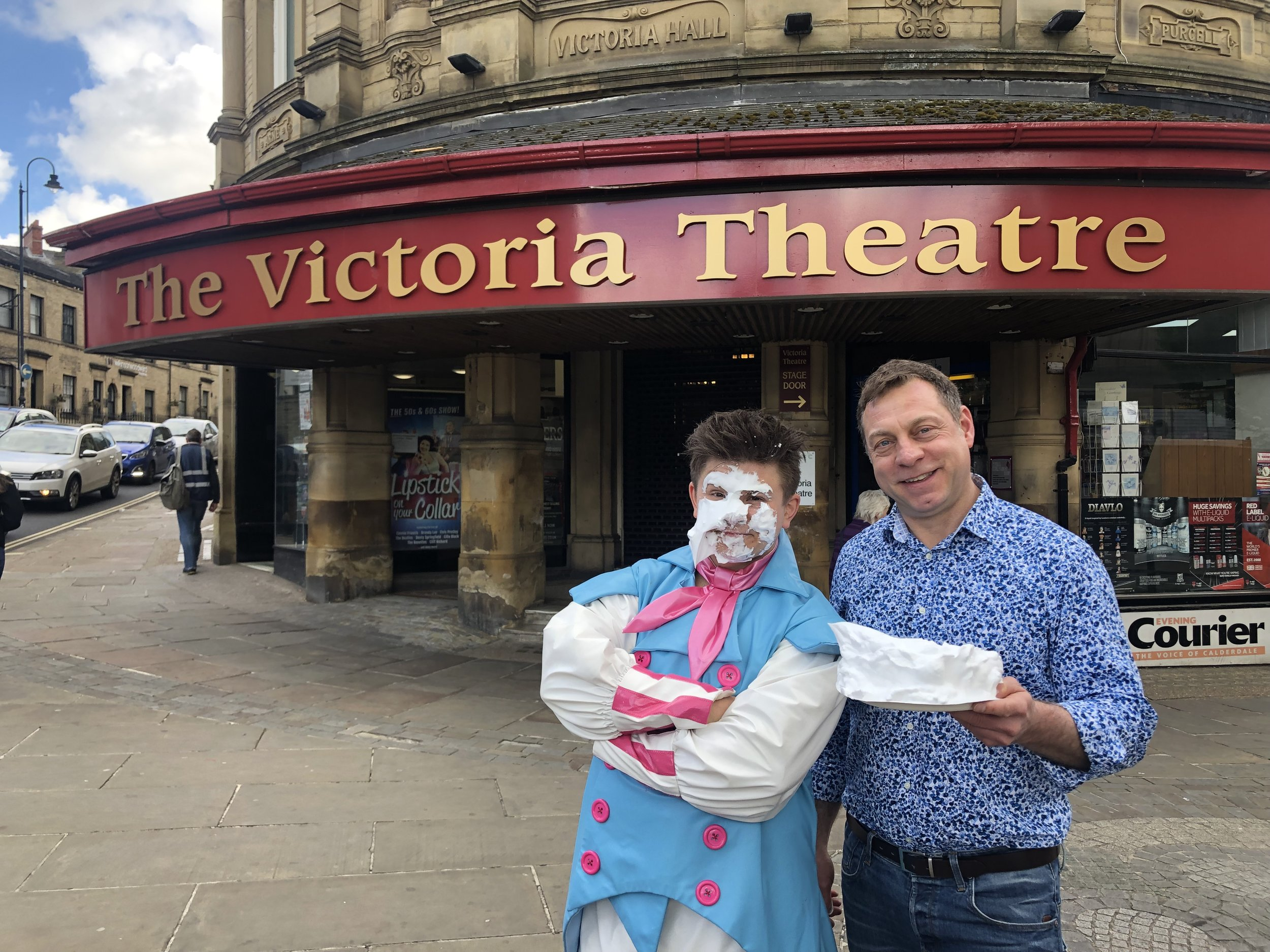 Josh met Theatre Manager Tim Fagan - who was the first to put a pie in his face!