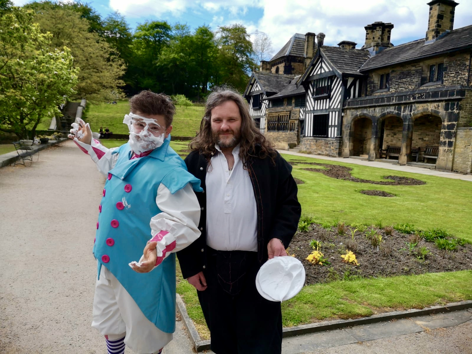 The final visit of the day was to Shibden Hall… and naturally they wanted to play the new game 'let's pie Josh' too!