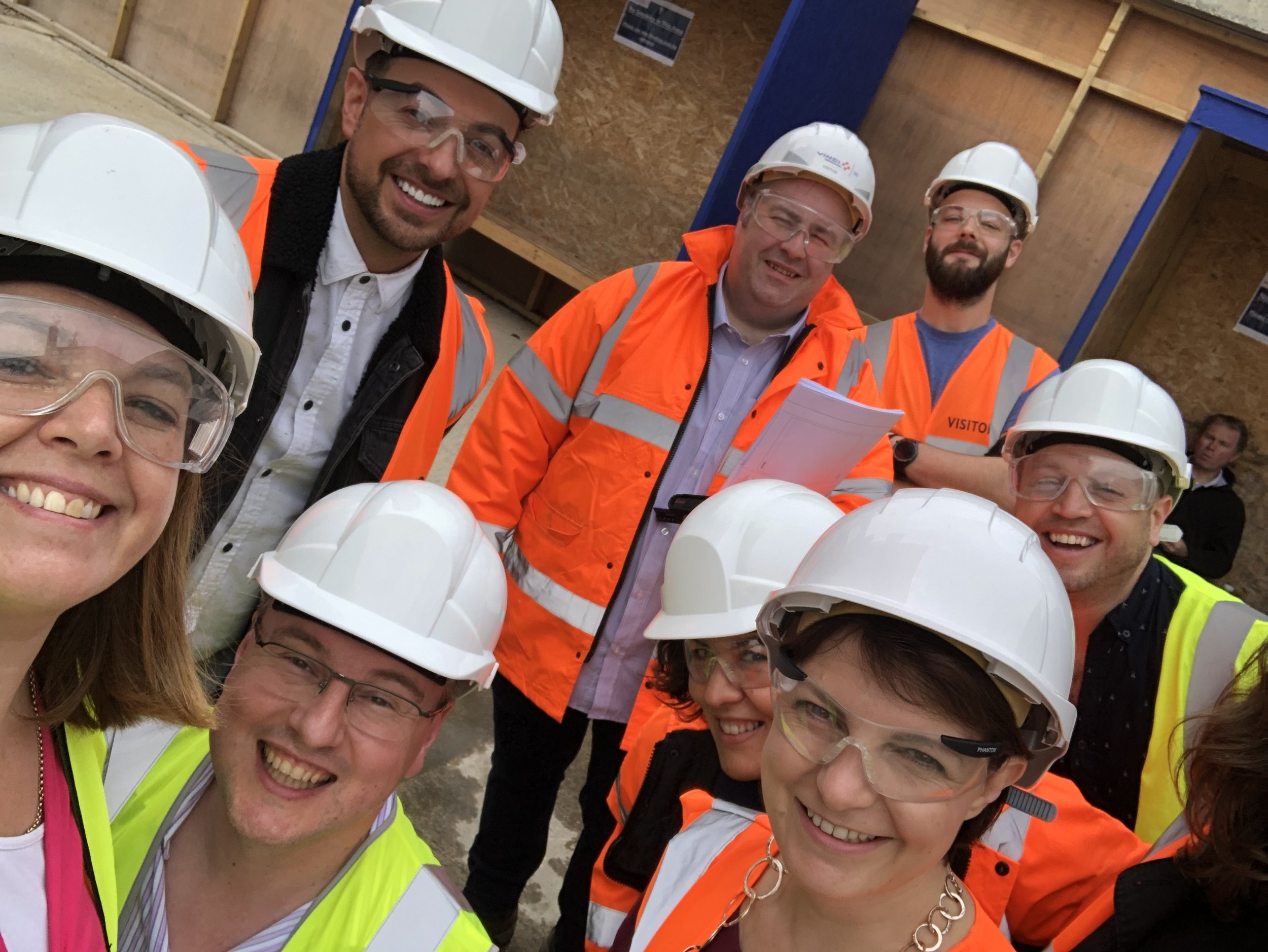 The Imagine Theatre team all ready to go on a site visit! L-R Sarah Boden (Imagine Business & Marketing Director), Mark Walters (Designer); Steve Boden (Imagine Managing Director), Dave Edmunds (Imagine Head of Operations), Laura (graphics), Laura Taylor (Imagine Production Consultant), Greg (Fairfield Halls Technical) and George Wood (Director)