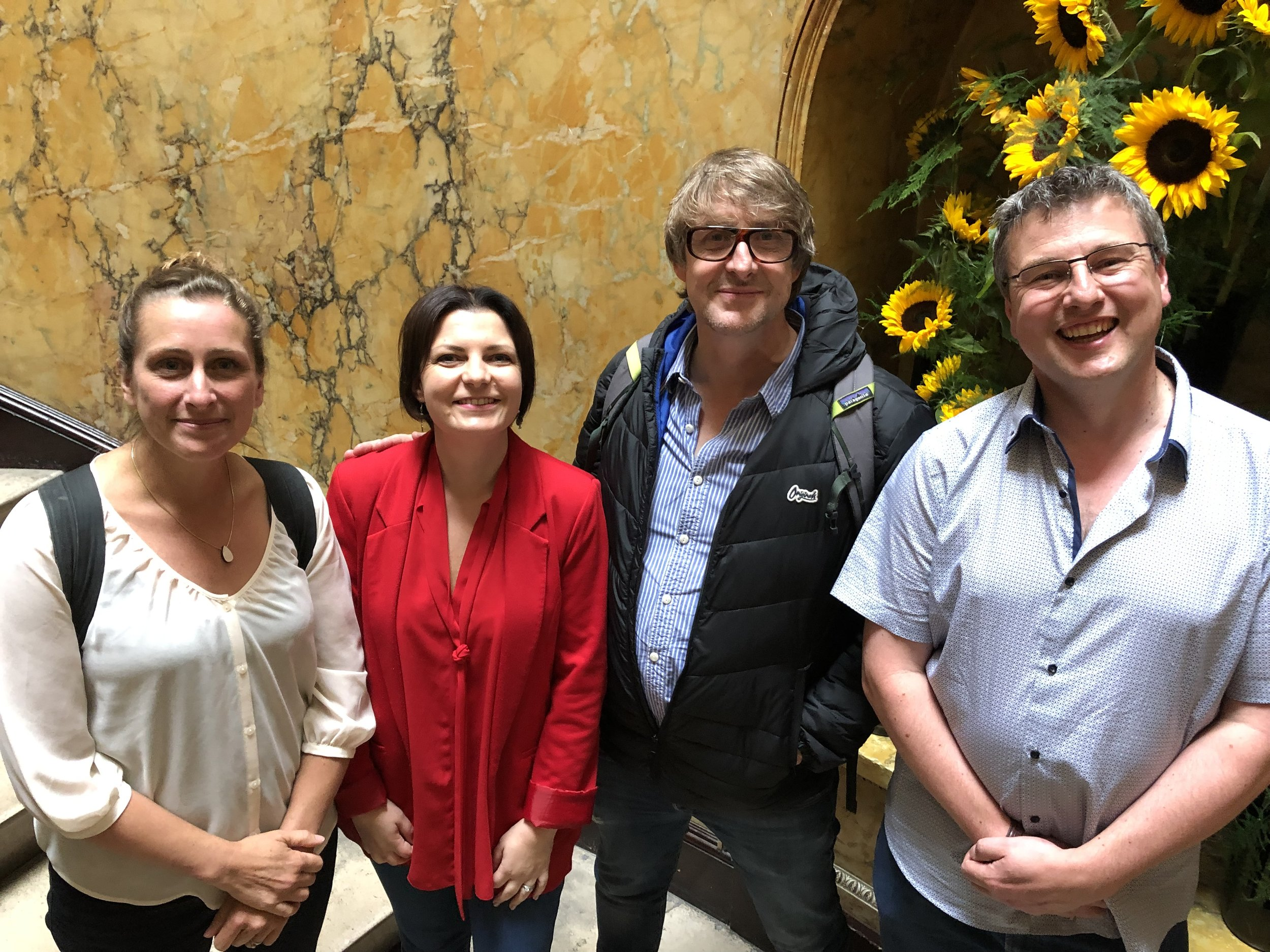 L-R Nina Dunn (Video Designer), Laura Taylor (Imagine Theatre), Will Brenton (Script Writer) and Steve Boden (Imagine Theatre) met in London recently to talk through how the scripting will integrate with the set and all the other exciting things we have up our sleeves!