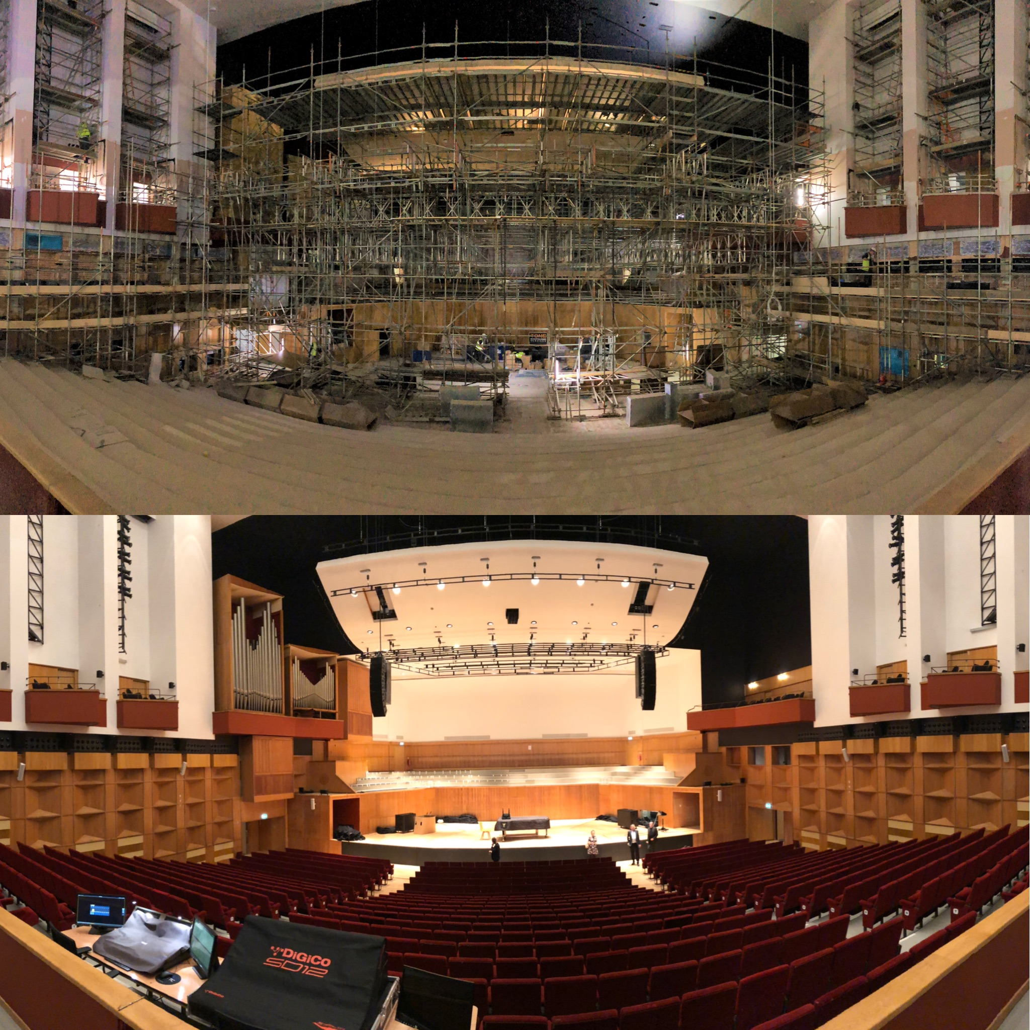 Before and after - Top was how the Phoenix Concert Hall looked in June 2019. Jump forward 3 months to September 2019 and look at how incredible it looks. What a transformation.