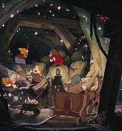 snow white and dwarfs working
