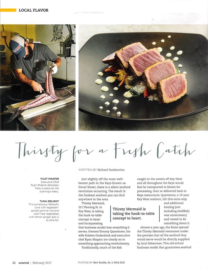 """Page one from the UNWIND THE FLORIDA KEYS magazine article featuring Thirsty Mermaid: """"Thirsty for a Fresh Catch"""""""