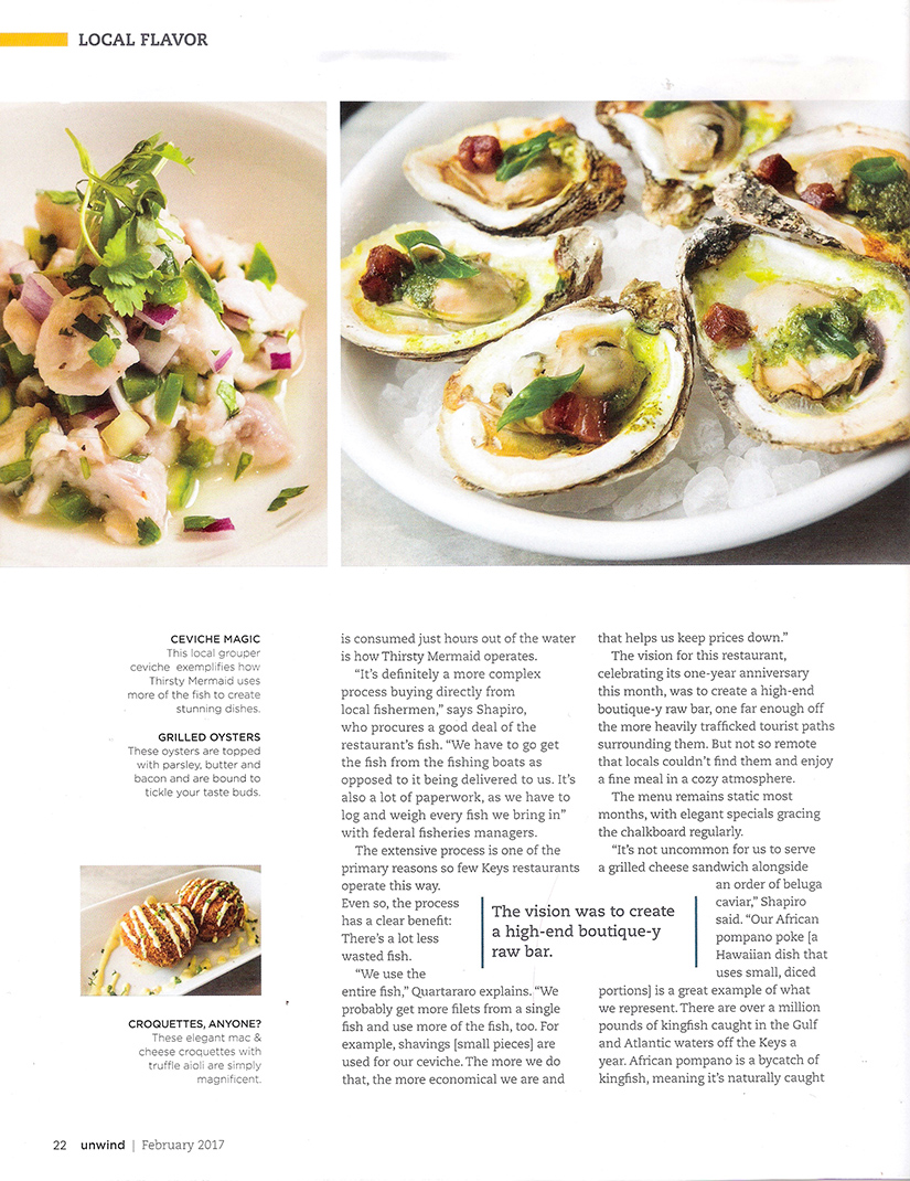 """Page two from the UNWIND THE FLORIDA KEYS magazine article featuring Thirsty Mermaid: """"Thirsty for a Fresh Catch"""""""