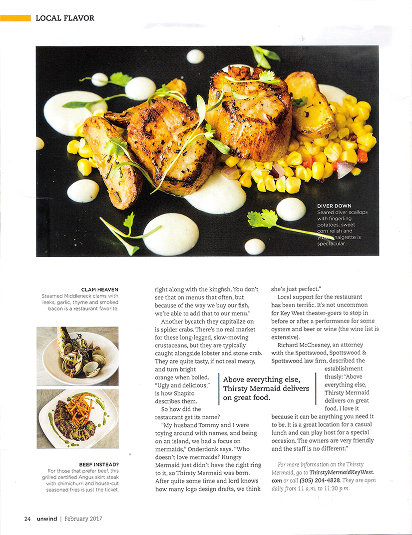 """Page three of the UNWIND THE FLORIDA KEYS magazine article featuring Thirsty Mermaid: """"Thirsty for a Fresh Catch"""""""