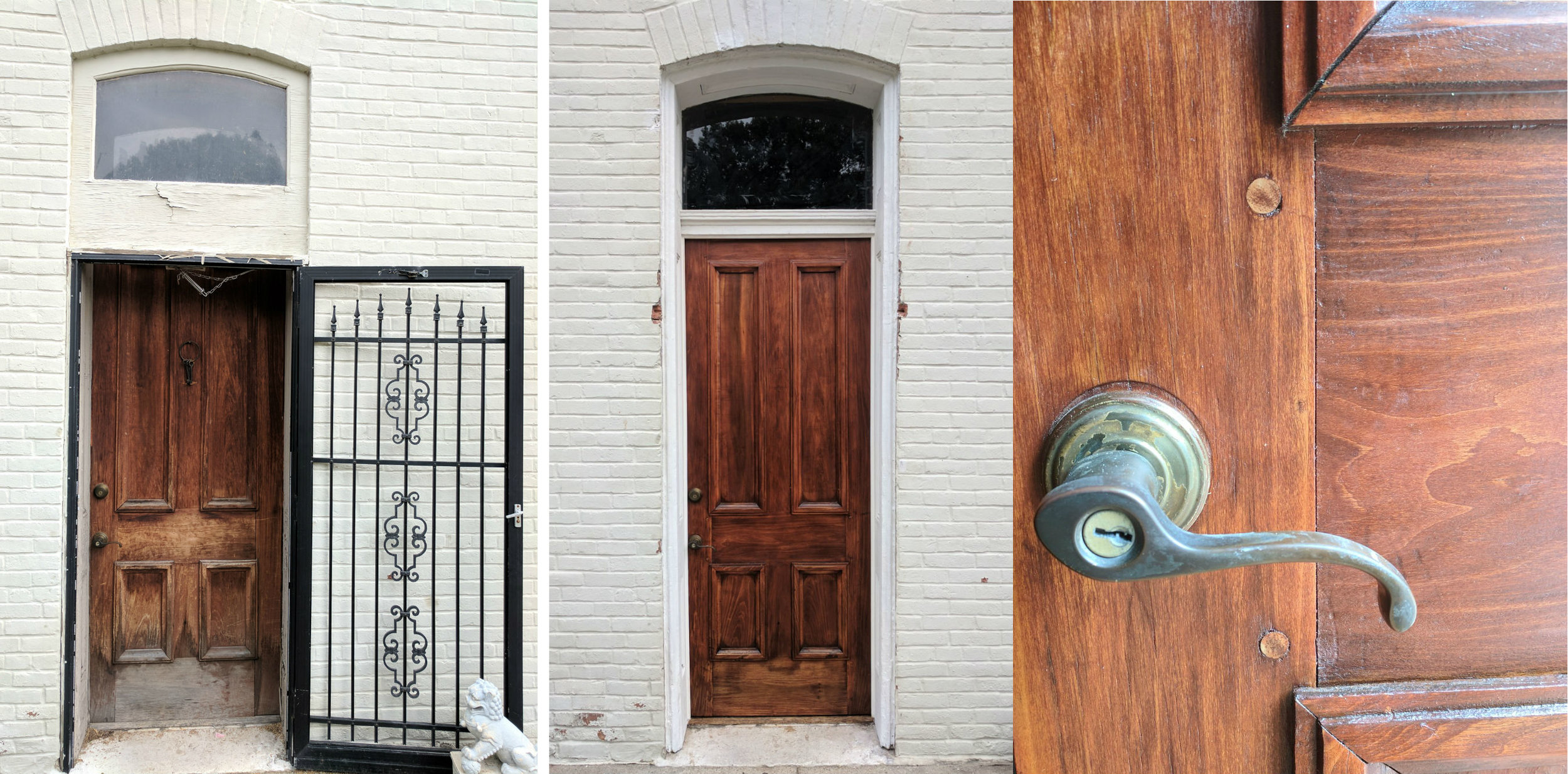 We restored the original back door and trimwork in this historic Lafayette Square home. We realigned the joinery of the door and added poplar pins to prevent it from failing in the future.