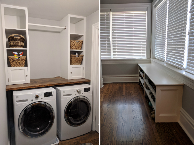 built in laundry organization and shoe cabinet with design details to match the trim in this South City home