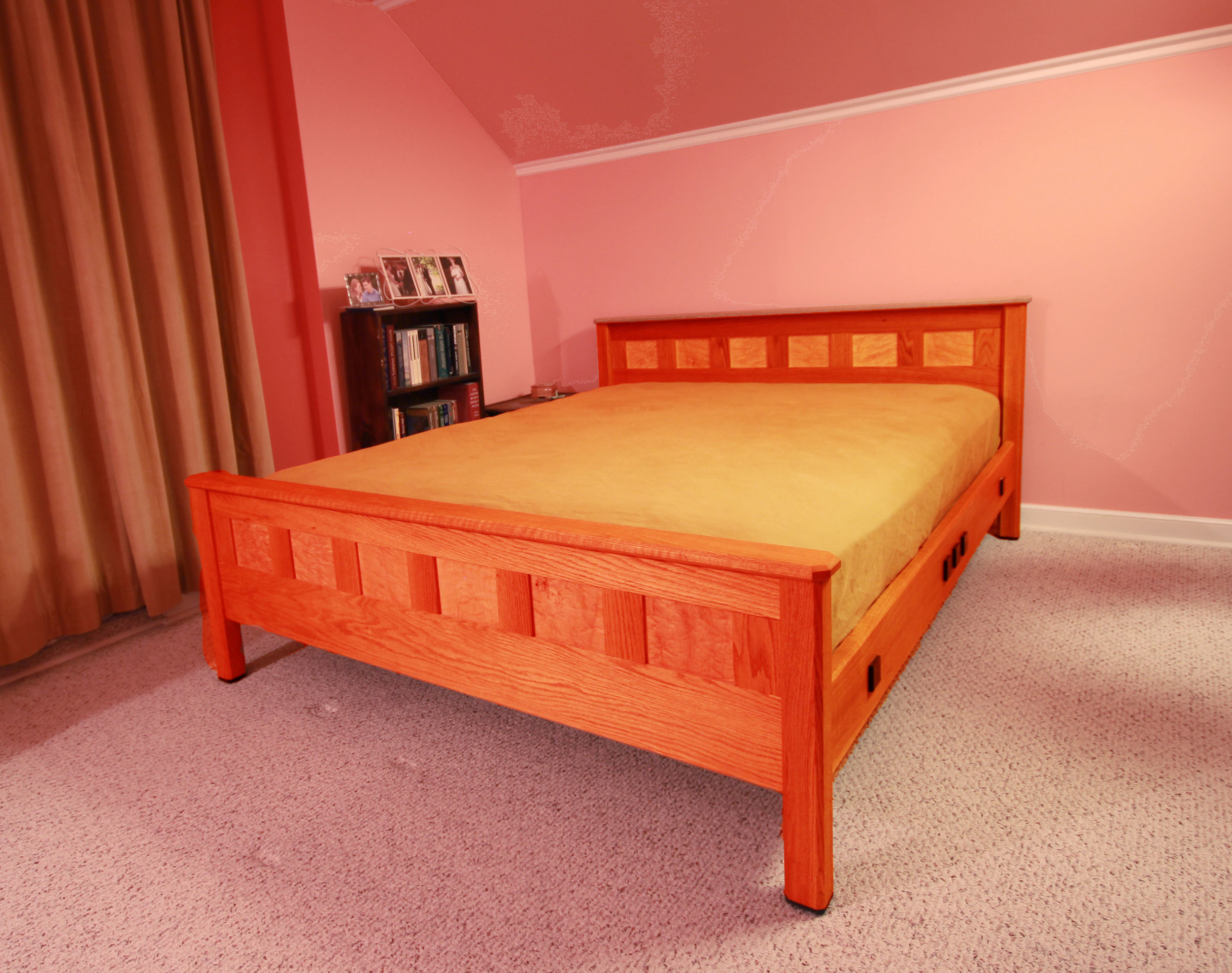 King size bed frame made from red oak, maple, and wenge.