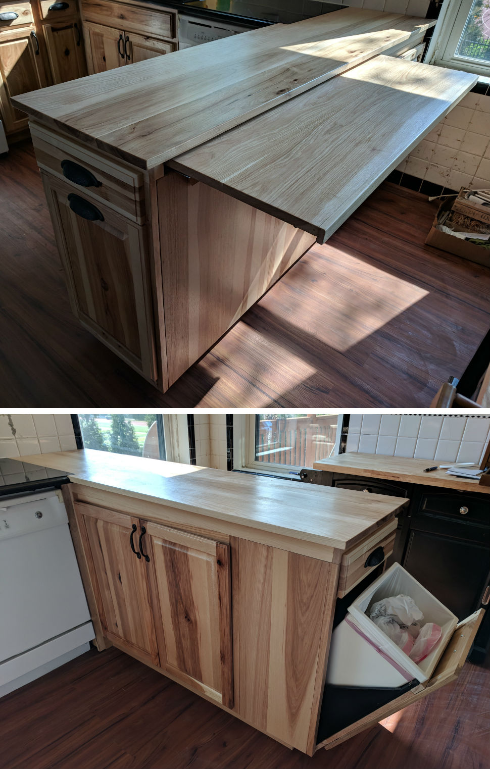 We designed this custom hickory kitchen island with trash pull-out drawer and extra slide out counter space as part of a South City kitchen remodel.