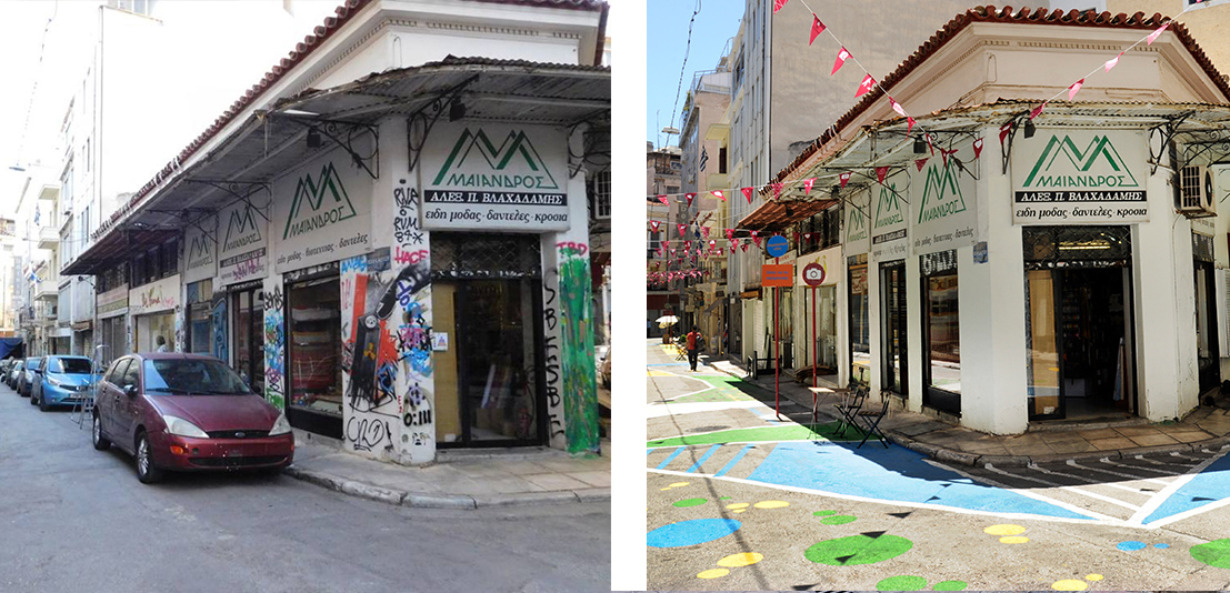 The Commercial Triange project is removing tags, cleaning and pedestrianizing streets and engaging the local community to create a model city center in Athens.