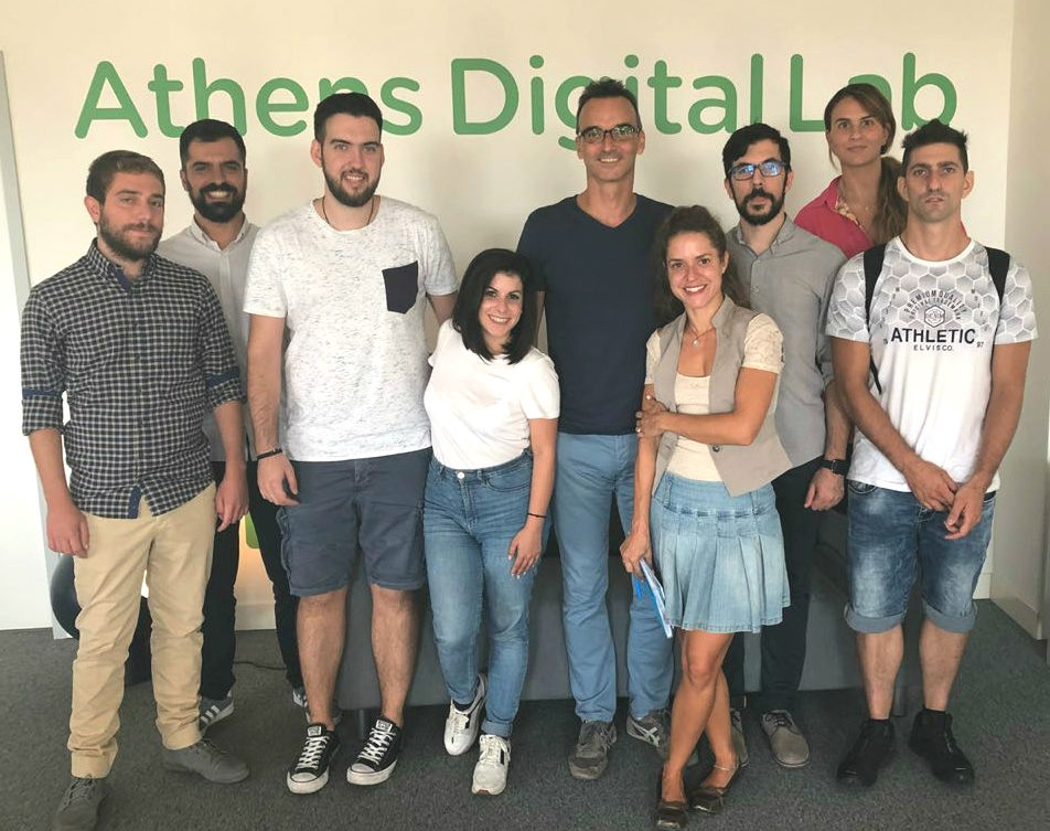 The Athens Digital Lab teams, with San Fransisco-based tech coach, Christos Kritikos.