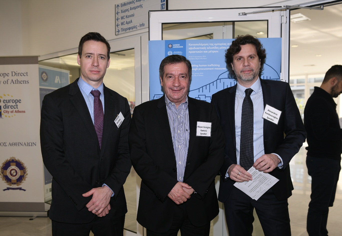 Mayor Kaminis (middle), with Valiant Richey, OSCE Acting Co-ordinator for Combating Trafficking in Human Beings (left) and Alexandros Kambouroglou, Executive Director of the Athens Partnership (right).