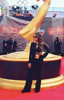Hollywood celebrity Fashion Stylist  AmbiKa Sanjana  is looking extra fabulous in a Jumpsuit by our Canadian Designer  SHAN  at the 2016  Emmys / Television Academy  Awards in Downtown Los Angeles. Fashion Provided By #IvanBittonStyleHouse