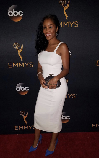 Actress @Tenisha Hancock attending the prestigious  Emmys / Television Academy  Red Carpet in Hollywood wearing a clutch from our Spanish Designer  Tissa Fontaneda . Styled By  Francesca Roth .  Fashion Supplied By  #IvanBittonStyleHouse