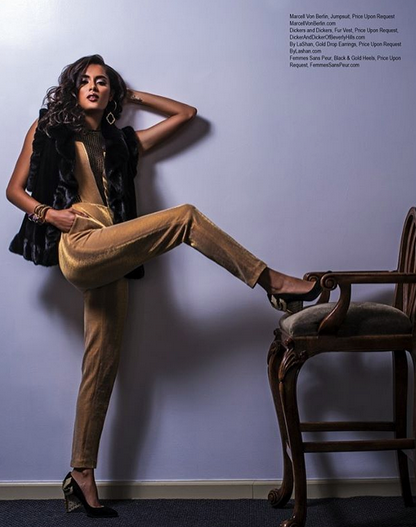 Fabulous fashion editorial Done for  Regard Magazine  featuring our designers  Femmes Sans Peur  shoes,  Marcell von Berlin  jumpsuit  Dicker and Dicker of Beverly Hills - Your Boutique Furrier  jacket  Styled by AmbiKa  assisted by  #teambitton   Miss Clinquant   Fashion Provided By  #ivanbittonstylehouse