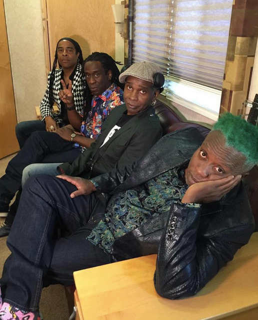 Behind the scenes with  The GRAMMYs  award winner band  Living Colour  wearing our American designer  Barabas Men  and with singer  Vernon Reid  wearing a jacket by our Hungarian designer  Sandor Lakatos . Styled By  #TeamBitton   Leisa Balfour   Fashion Provided By  #IvanBittonStyleHouse
