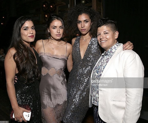 Young and Trendy Hollywood stars  Andrea Sixtos ,  Vannessa Vasquez , and  Alicia Sixtos  from  Hulu 's Hit show  East Los High  Out and about wearing a Jumpsuit by our German designer  Anya Liesnik , a clutch by our Brazilan designer  RosaTolenttino  and a Lingerie-dress by our French designer  Elise Anderegg . Styled By  Oliver Styles .  Fashion Provided By  #IvanBittonStyleHouse