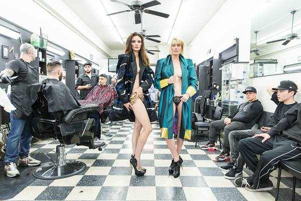 Behind the scenes shooting for upcoming TV show  #ModelMums .  When two Top models  Kira Dikhtyar Official  and  Eugenia Kuzmina  visit an all male Barber shop in Hollywood ! wearing our designer from Germany  Marcell von Berlin 's trench coats and From Portugal  Egidio Alves  shoes.  Styled By  #TeamBitton   Aaron Gomez .  Fashion Provided By  #IvanBittonStyleHouse