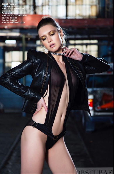 Obscurae Magazine editorial featuring a jacket by our  Project Runway designer  Laurence Basse and a bodysuit by our German designer  Felice Art Couture and jewelry by our American designer  Sambac Jewelry Styled by  #TeamBitton  Stephanie Amelie and  Melinda Zuckman . Fashion Provided by  #IvanBittonStyleHouse